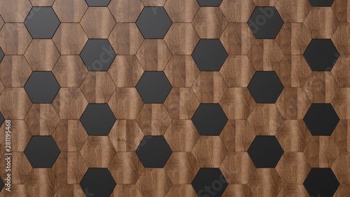 Canvas Prints Geometric Dark wood background. Black and brown hexagonal panels.