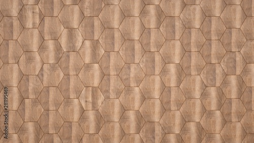 Canvas Prints Geometric Elegant background of wooden hexagons.