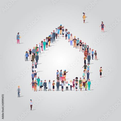 Obraz na plátně  people crowd gathering in home icon shape social media community house building