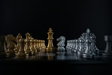 Silver Chess Knight Is Facing ...