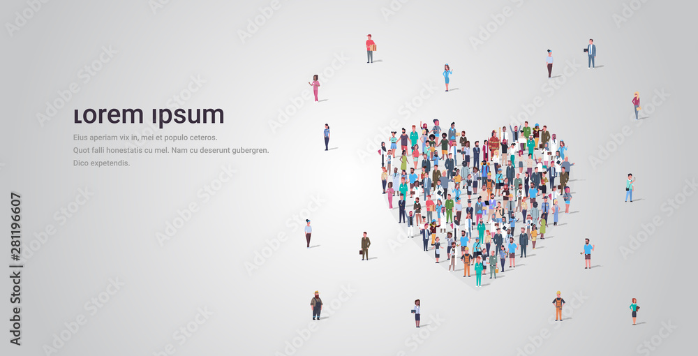 Fototapeta people crowd gathering in heart icon shape social media community add to favorite love concept different occupation employees group standing together full length horizontal copy space