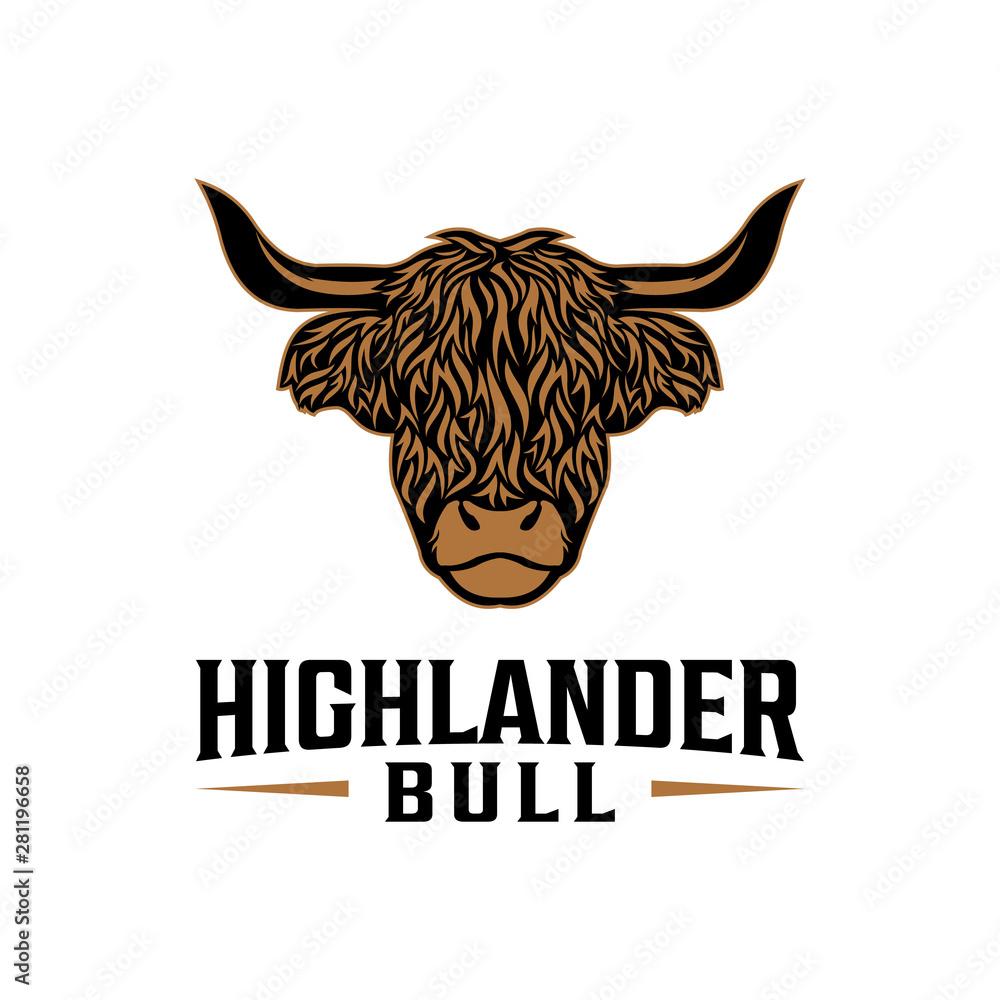 Fototapeta Highlander bull vintage logo design. Mascot logo design