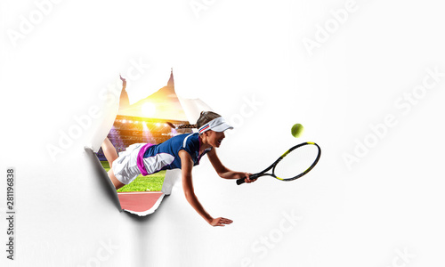 Photo  Paper breakthrough hole effect and tennis player