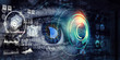 canvas print picture - Abstract high tech eye concept