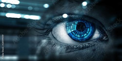 Pinturas sobre lienzo  Abstract high tech eye concept