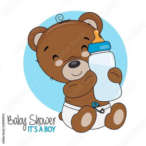 Poster de jardin Chambre bébé Smiling bear with bottle. Baby boy shower card