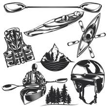 Set Of Kayaking Elements