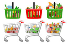Grocery Shopping Cart And Basket. Vector Cartoon Supermarket Customer Shopping Trolley With Groceries Food Isolated On White Background