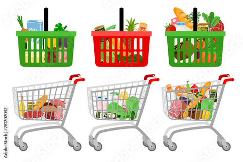 Fototapeta Grocery shopping cart and basket. Vector cartoon supermarket customer shopping trolley with groceries food isolated on white background obraz