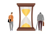 Lifetime Concept. Young Boy, Elderly Man And Hourglasses. Transience Of Time Vector Illustration