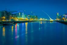 River Liffey And The Samuel Beckett Bridge In Dublin - Ireland