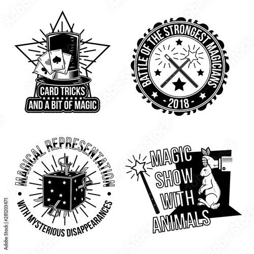 Set of magical emblems, labels, badges, logos. Canvas Print