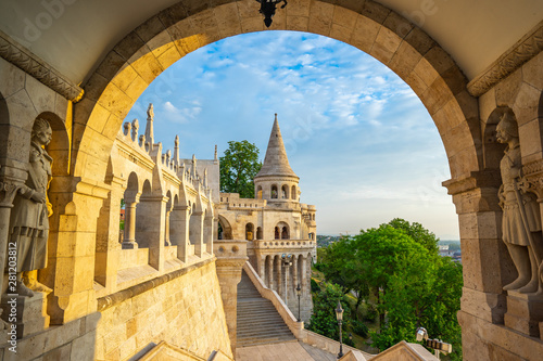 Foto auf Gartenposter Budapest Tower of Fisherman's Bastion in Budapest city, Hungary
