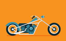 Flat Vector Classic Motorcycle...