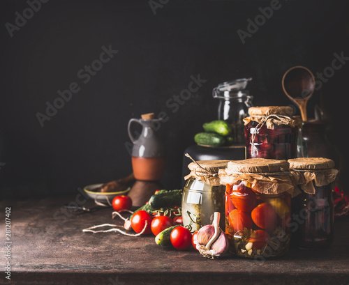 Vegetables and fruits canning Canvas Print