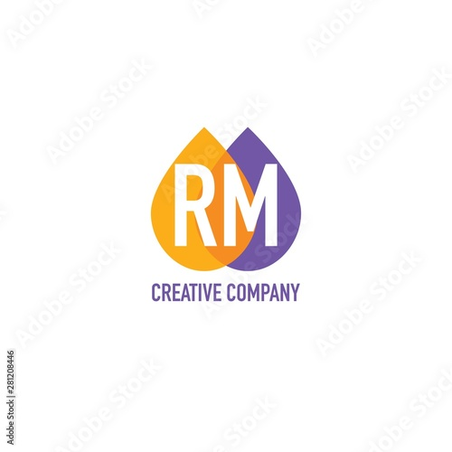 Initial Letter RM Water Oil Icon Logo Design Template Canvas Print