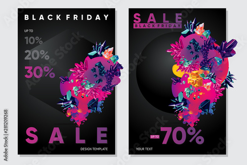 Fototapeta Black friday sale posters with abstract 3d element and particles. Vector template for christamas discount. obraz na płótnie