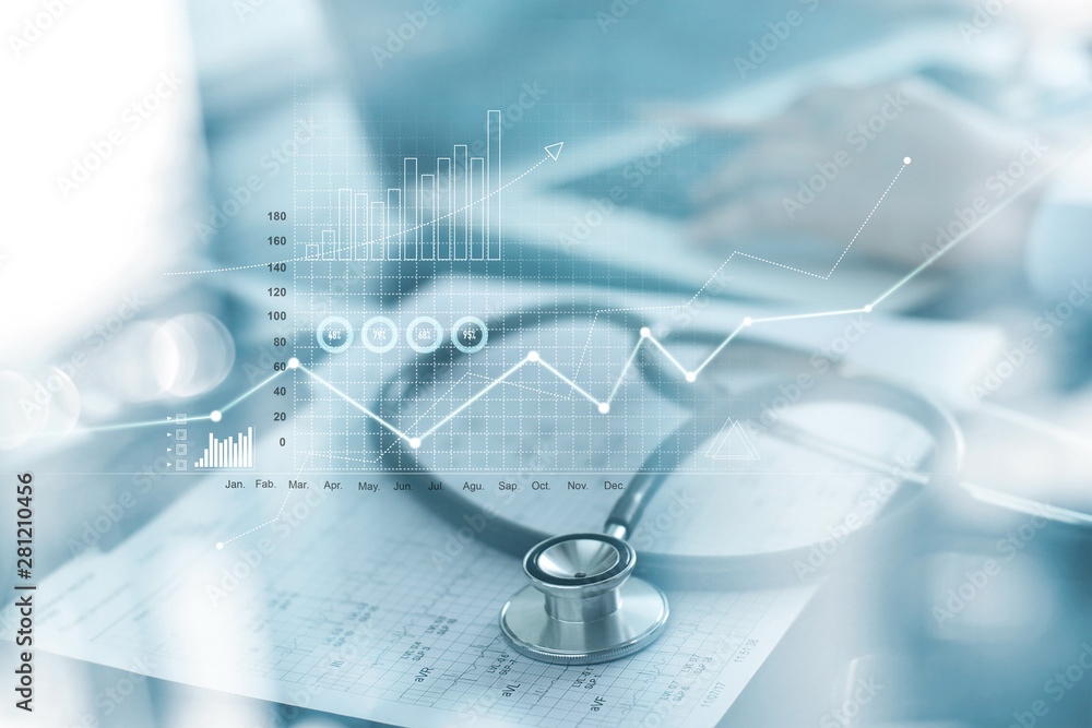 Fototapety, obrazy: Healthcare business graph and Medical examination and businessman analyzing data and growth chart on blured background