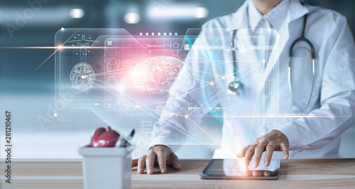 Doctor, surgeon Diagnose checking and analyzing patient brain testing result and human anatomy on technology digital futuristic virtual interface, dna, holographic, innovative in science and surgery.