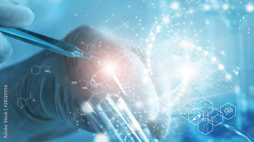 Fototapeta Genetic research and Biotech science Concept. Human Biology and pharmaceutical technology on laboratory background.