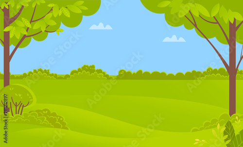 Recess Fitting Lime green Green scenery with trees and bushes, forest or rural landscape. Vector clean environment, panorama with springtime scenic view, blue sky with clouds