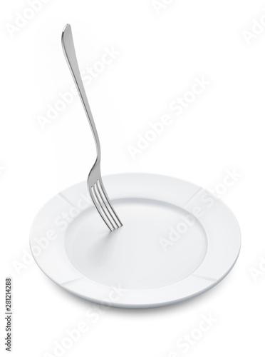 Empty Plate Stabbed By Fork 3d Render 3d Illustration