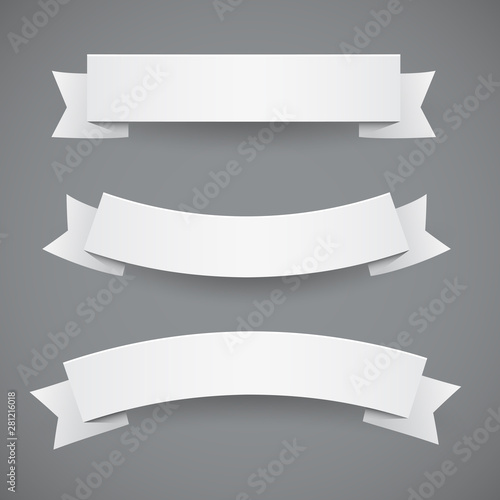 Fotomural  Set of White Flags Or Ribbon Banners