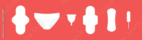 Obraz Feminine hygiene products. Classic products: sanitary pads and tampon. Sustainable products: cloth menstrual pad, period panties and menstrual cup. Red background. Vector illustration, flat design - fototapety do salonu