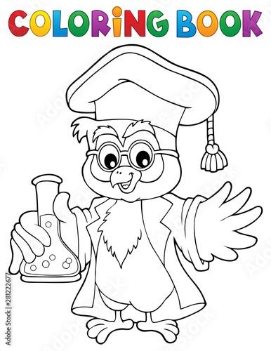 Foto auf AluDibond Für Kinder Coloring book chemistry owl teacher 1