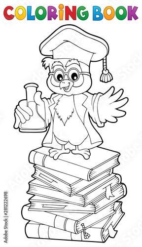 Foto auf AluDibond Für Kinder Coloring book chemistry owl teacher 2
