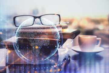 Map hologram with glasses o...