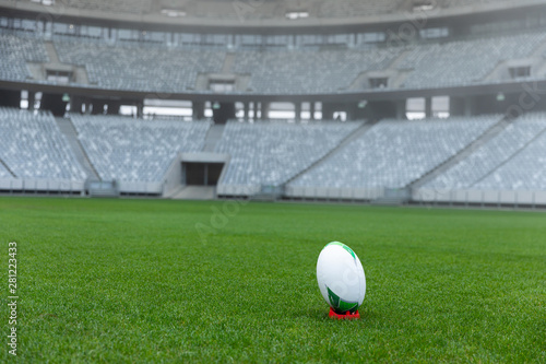 Rugby ball on a stand in stadium