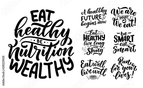 Photo  Set of Healthy food lettering for banner design