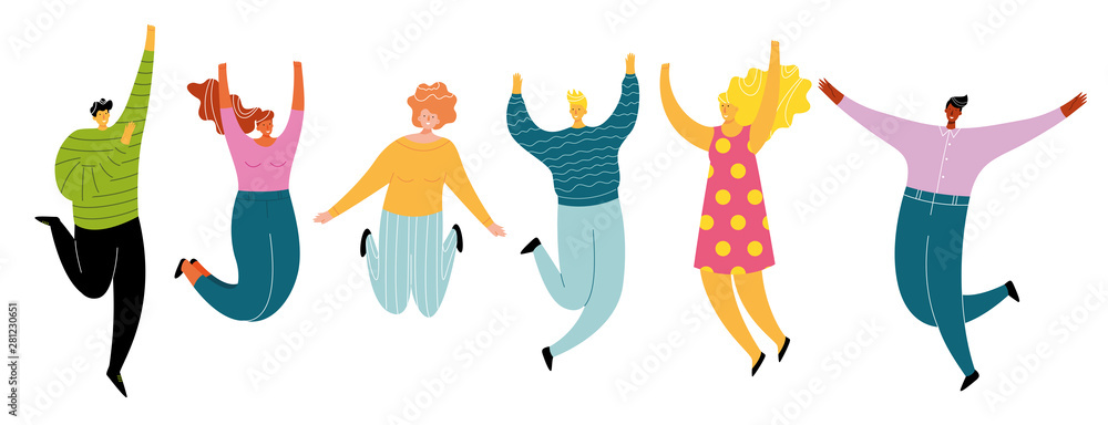 Fototapeta Happy jumping people set, cheerful and active group