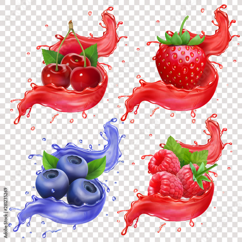 Realistic berries juice Splashes set Strawberry, blueberry, raspberry and cherry collection vector