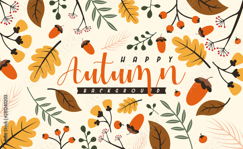 Fototapeta Autumn background illustration vector. Flat background of autumn obraz