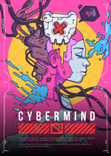 Cyber Girl Face, Concept Illustration. Futuristic Cartoon Illustration In Trendy Style.