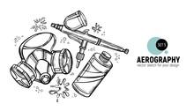 Hand Drawn Vector Illustration Of Aerography Tools. Protective Mask, Respirator, Airbrush And Paint. Set 5