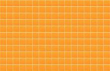 Orange Blank Ceramic Tile Wall Texture Background. Panoramic Image Of Orange Tile Wall.