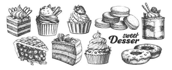 Asortiman pečenih slatkih desertnih garnitura Vintage Vector. Čokoladni i voćni kolači, makaroni i krafne, pita od bobičastog voća i kremasti kazeusni desertni koncept. Dizajnirani predložak crno-bijelih ilustracija