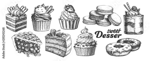 Fototapeta Assortment Baked Sweet Dessert Set Vintage Vector. Chocolate And Fruit Cakes, Macaroons And Donuts, Berries Pie And Creamy Caseous Dessert Concept. Designed Template Black And White Illustrations obraz