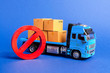 canvas print picture - A blue truck loaded with boxes and a red symbol NO. Embargo trade wars. Restriction on importation, ban on export of dual-use goods to countries under sanctions. transport companies. Ban on transit