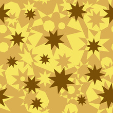 Seamless Abstract Pattern Of Geometric Polygonal Shapes. Gold, Beige, Ocher Octagonal Stars And Octagons Superimposed On Each Other.