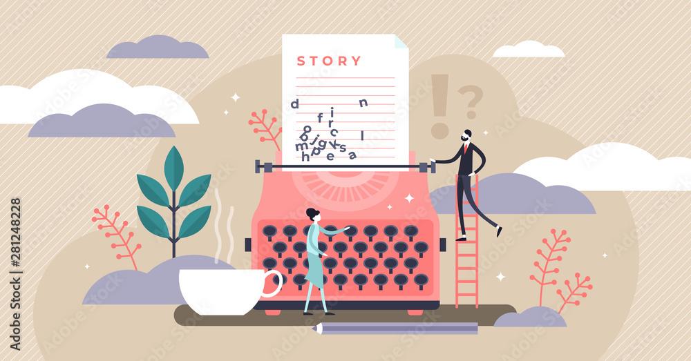 Fototapeta Story vector illustration. Flat tiny literature text author persons concept