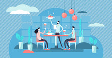 Restaurant Vector Illustration. Flat Tiny Food Eating Scene Persons Concept