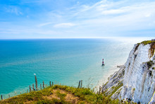Beachy Head White Cliffs And Lighthouse In Summer, Sussex, UK