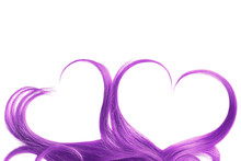 Purple Hair In Shape Of Heart, Isolated On White Background