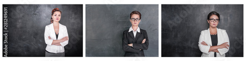 Foto Set of Serious teacher woman looking at you on blackboard