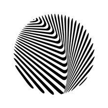 Abstract Twisted Black And White Background In Circle. Optical Illusion Of Distorted Surface. Twisted Stripes. Stylized 3d Surface. Vector Illustration. Great For Wall Art, Poster, Banner, Web.