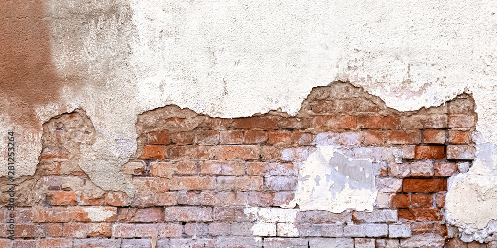 Background Of Old Vintage Dirty Brick Wall With Peeling Plaster, Texture. Shabby Building Facade With Damaged Plaster. Abstract Web Banner. Copy Space.